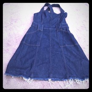 7 for all mankind cross back dress overalls frayed